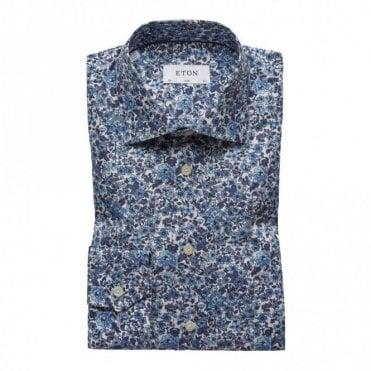 Slim Fit Floral Print Poplin Shirt - Blue