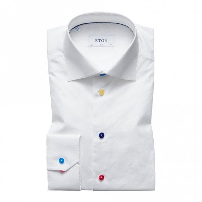 ETON Slim Fit Plain White Multicolour Buttons