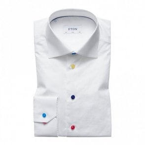Slim Fit Plain White Multicolour Buttons