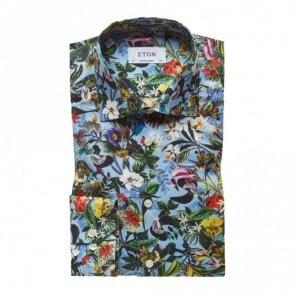 Eton Slim Fit Sky Blue Floral Print Shirt Blue