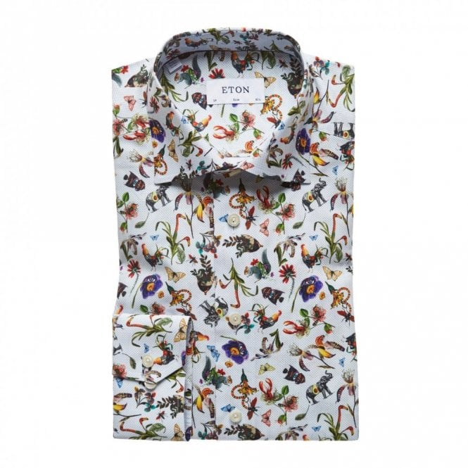 ETON Slim Fit Transformation Print Shirt Blue