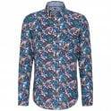 Fynch-Hatton Allover Flowers Print Linen Shirt