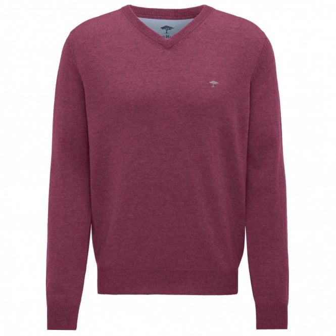 Fynch-Hatton Berry V-Neck Merino Mix Sweater - Berry Pink