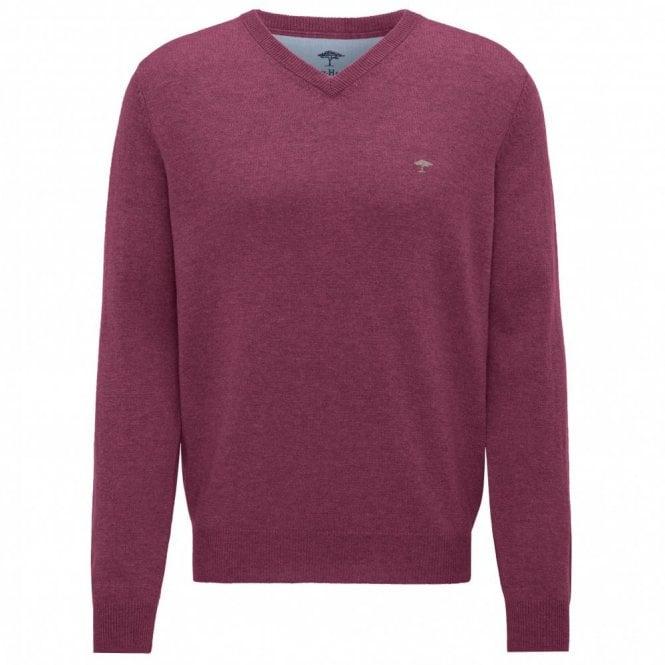 Fynch-Hatton Berry V-Neck Merino Mix Sweater - Berry Pink