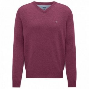 Berry V-Neck Merino Mix Sweater - Berry Pink