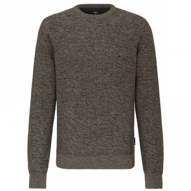 Fynch-Hatton Brown/grey Weave Crew Neck Sweater - Brown