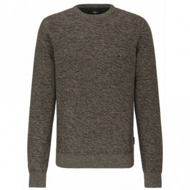 Brown/grey Weave Crew Neck Sweater - Brown