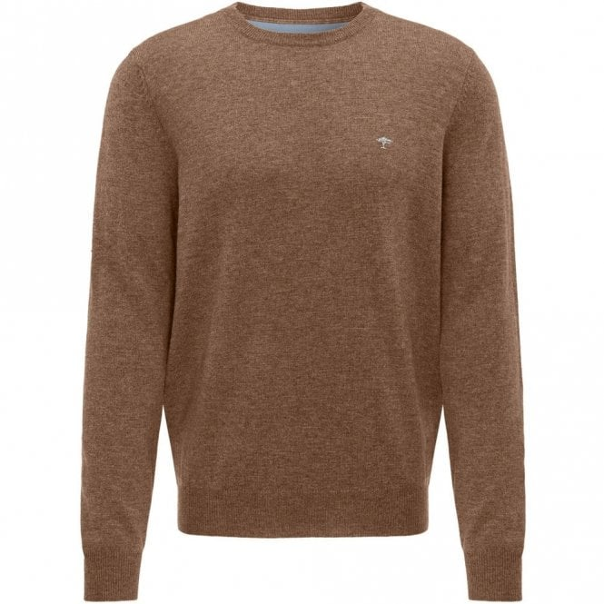 Fynch-Hatton Caramel Merino Mix Crew Neck Sweater - Brown