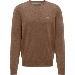 Caramel Merino Mix Crew Neck Sweater - Brown