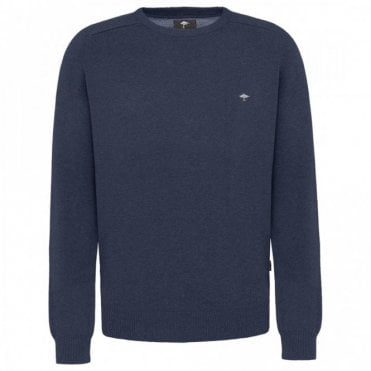 Crew Neck Cotton Sweater - Blue
