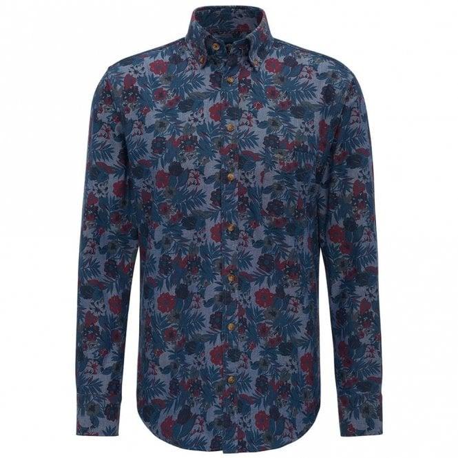 Fynch-Hatton Denim Flower Print Shirt - Blue