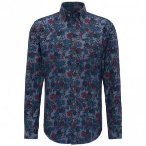 Denim Flower Print Shirt - Blue