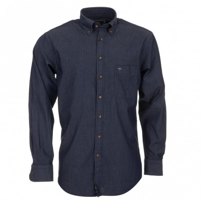 Fynch-Hatton Denim Plain Shirt - Navy