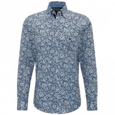 Fynch-Hatton Leaf Print Shirt - Blue