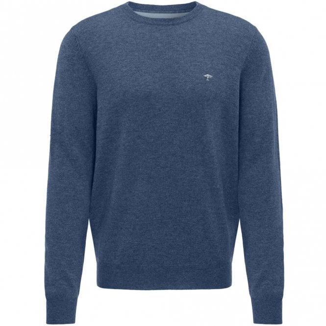 Fynch-Hatton Merino Mix Crew Neck Sweater - Blue