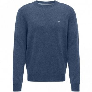 Merino Mix Crew Neck Sweater - Blue