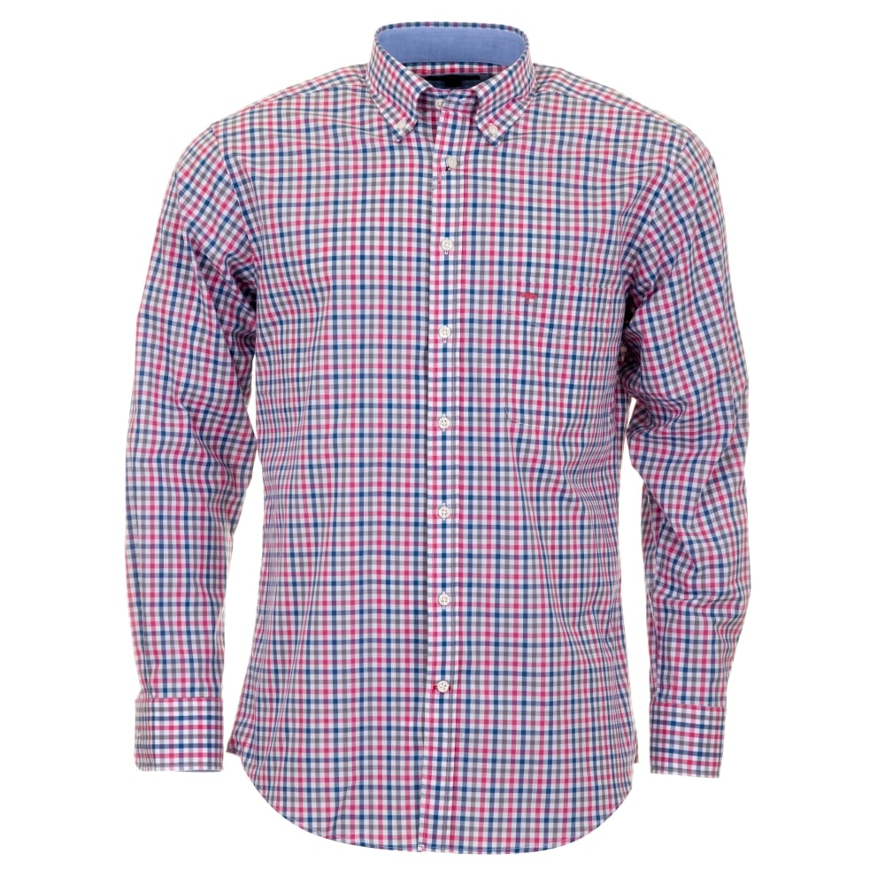 Fynch Hatton Pink And Grey Check Shirt