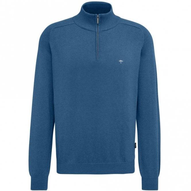 Fynch-Hatton Quarter Zip Cotton Sweater - Blue