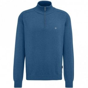 Quarter Zip Cotton Sweater - Blue