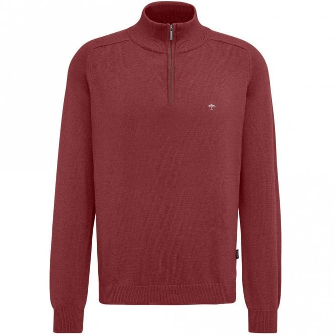 Fynch-Hatton Quarter Zip Cotton Sweater - Red