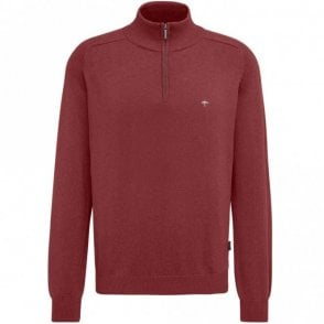 Quarter Zip Cotton Sweater - Red