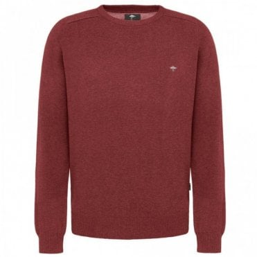 Rusty Crew Neck Cotton Sweater - Red