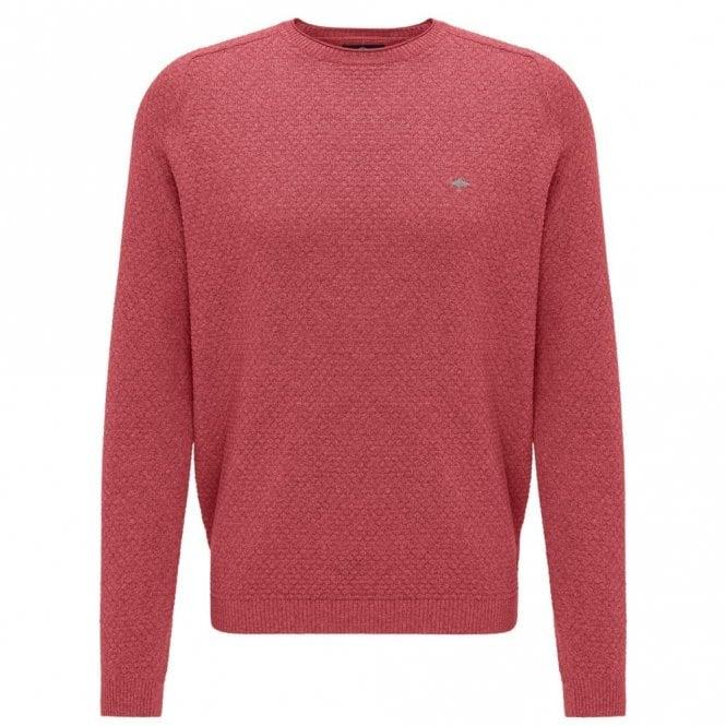 Fynch-Hatton Scarlet Moulinee Pattern Crew Neck Sweater - Red
