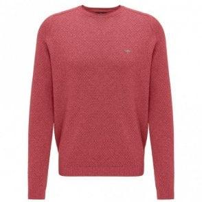 Scarlet Moulinee Pattern Crew Neck Sweater - Red