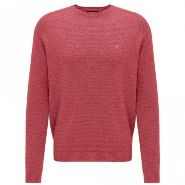 Scarlet Moulinee Pattern Crew Neck Sweater - Red