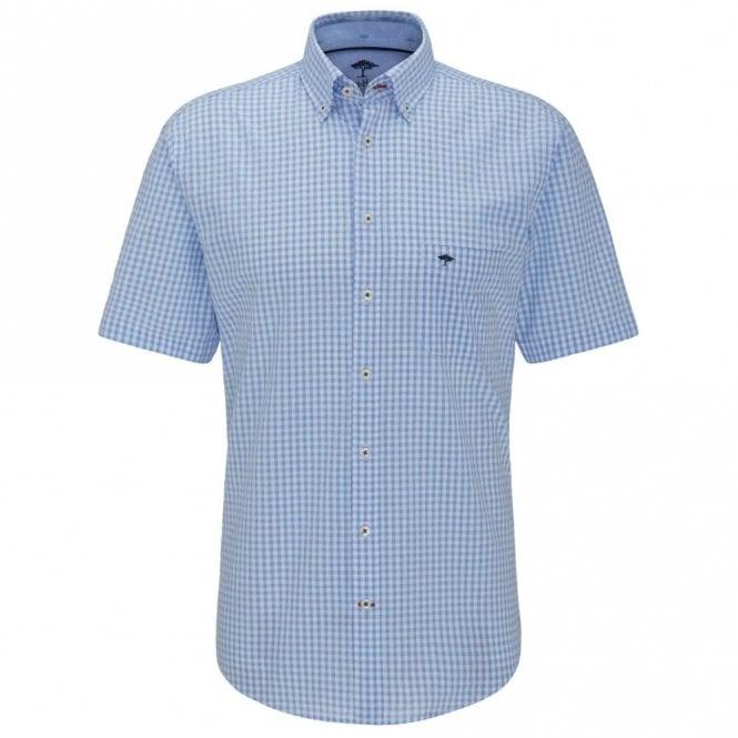 Fynch-Hatton Seersucker Check Shirt - Blue Check