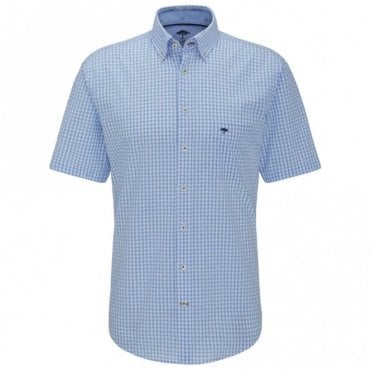 Seersucker Check Shirt - Blue Check
