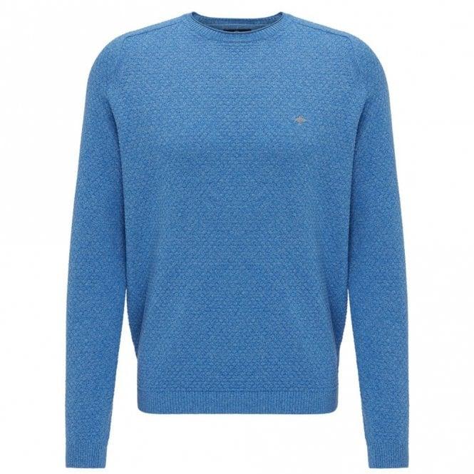 Fynch-Hatton Steelblue Moulinee Pattern Crew Neck Sweater - Blue
