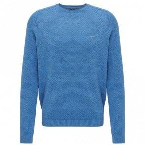 Steelblue Moulinee Pattern Crew Neck Sweater - Blue