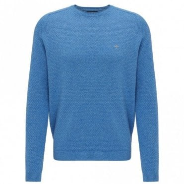 Steelblue Moulinee Pattern Crew Neck Sweater - Blue