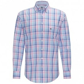 Fynch-hatton Structured Tonal Combination Check Shirt - Pink Check