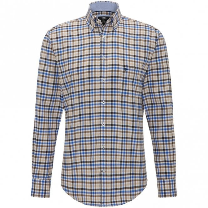 Fynch-Hatton Taupe/blue Check Shirt - Taupe