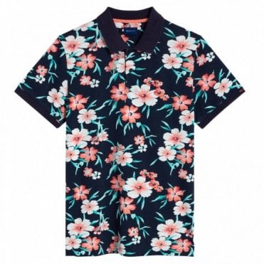 Gant All Over Floral Pique Polo Shirt - Blue