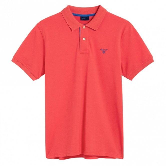 Gant Contrast Collar Pique Polo Shirt - Watermelon Red