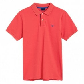 Gant Contrast Collar Pique Polo Shirt - Watermelon Red