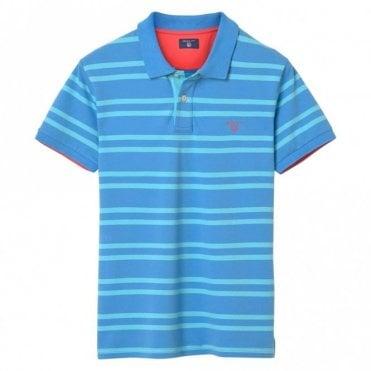 Contrast Collar Pique Rugger - Blue Stripe
