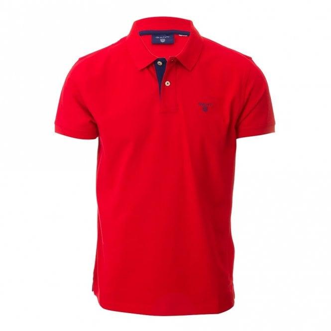 Gant Contrast Collar Pique Ss Rugger - Red