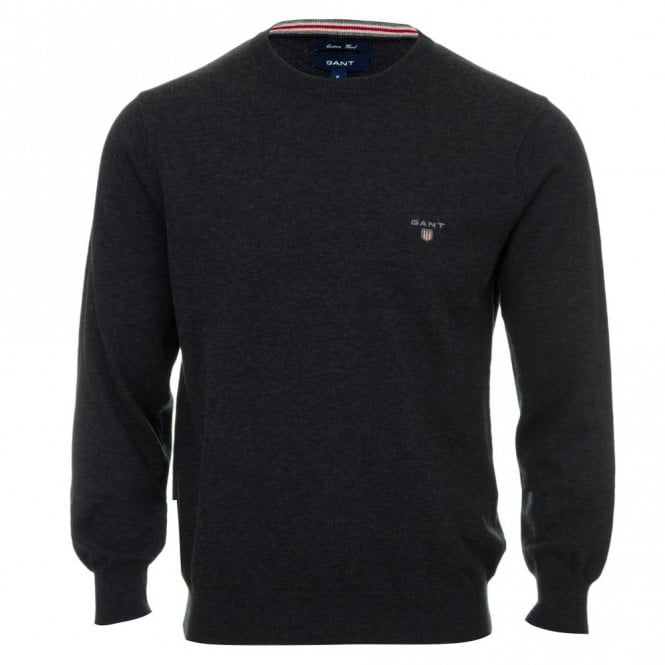 Gant Cotton and Wool Crew Neck Sweater - Grey