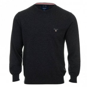 Cotton and Wool Crew Neck Sweater - Grey
