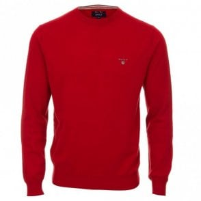 Cotton and Wool Crew Neck Sweater - Red