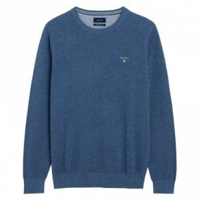Cotton Pique Crew Neck Sweater - Denim Blue Mel
