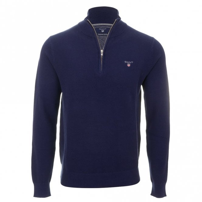 Gant Cotton Pique Half Zip - Blue