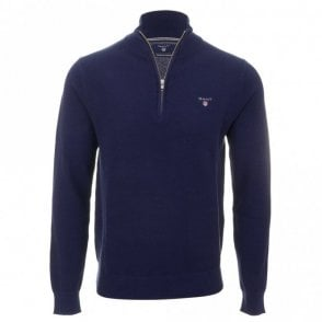 Cotton Pique Half Zip - Blue