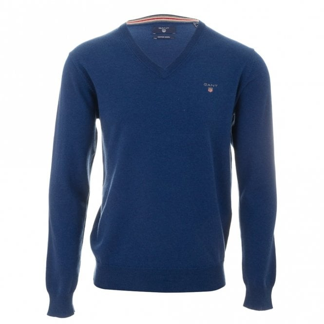 Gant Cotton Wool V-neck sweater - Blue