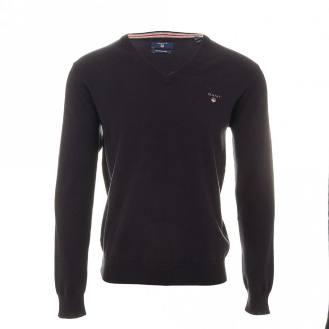 Gant Cotton Wool V-neck sweater - Navy