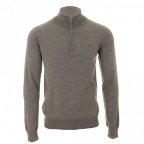 Gant Cotton Wool Zip Sweater - Grey